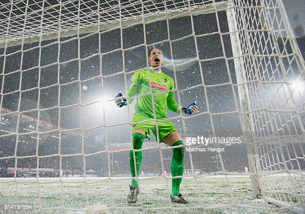 Goalkeeper Alexander Schwolow of Freiburg celebrates during the Second Bundesliga match between SC Freiburg and RB Leipzig at SchwarzwaldStadion on...