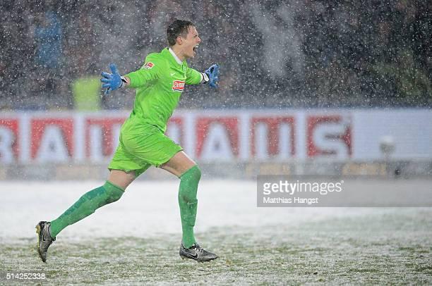 Goalkeeper Alexander Schwolow of Freiburg celebrates during the Second Bundesliga match between SC Freiburg and RB Leipzig at SchwarzwaldStadion on...