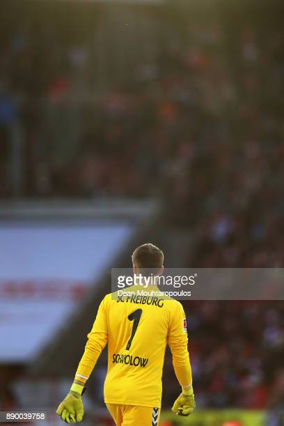 Goalkeeper Alexander Schwolow of SC Freiburg looks on during the Bundesliga match between 1 FC Koeln and SportClub Freiburg at RheinEnergieStadion on...