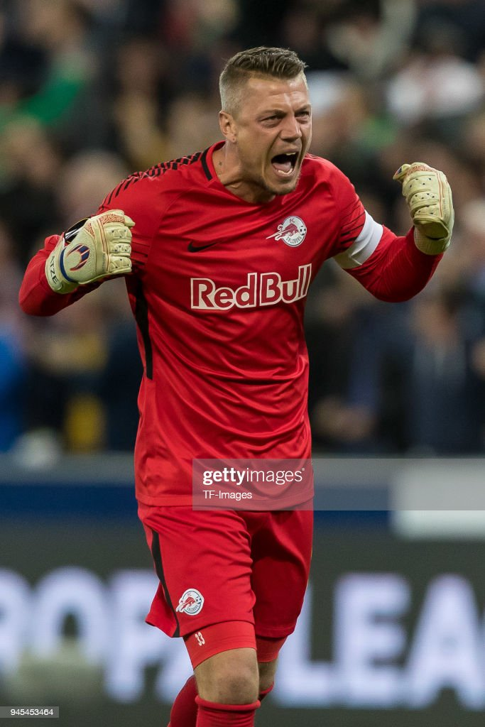 Goalkeeper Alexander Walke of Salzburg celebrates after Hee-Chan Hwang of Salzburg scored their team`s third goal during the UEFA Europa League quarter final leg two match between RB Salzburg and Lazio Roma at Red Bull Arena on April 12, 2018 in Salzburg, Austria.