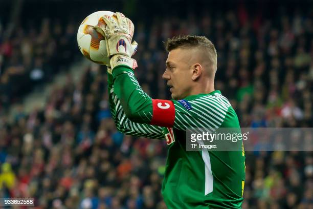 Goalkeeper Alexander Walke of Salzburg controls the ball during UEFA Europa League Round of 16 second leg match between FC Red Bull Salzburg and...
