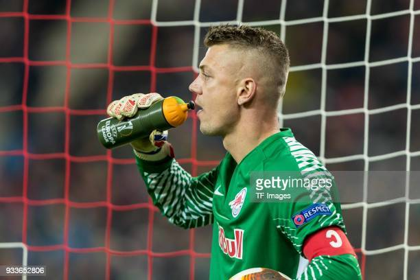 Goalkeeper Alexander Walke of Salzburg drinks during UEFA Europa League Round of 16 second leg match between FC Red Bull Salzburg and Borussia...