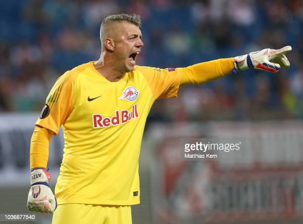 Goalkeeper Yvon Mvogo of Leipzig gestures during the UEFA Europa League Group B match between RB Leipzig and FC Salzburg at Red Bull Arena on...