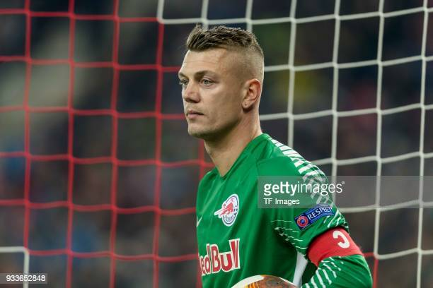 Goalkeeper Alexander Walke of Salzburg looks on during UEFA Europa League Round of 16 second leg match between FC Red Bull Salzburg and Borussia...