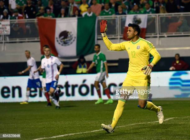 Goalkeeper Alfredo Talavera of Mexico calls to his team during the second half of their exhibition match against Iceland at Sam Boyd Stadium on...