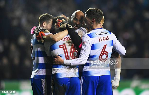 Goalkeeper Ali AlHabsi of Reading celebrates victory with team mates after the Sky Bet Championship match between Reading and Fulham at Madejski...