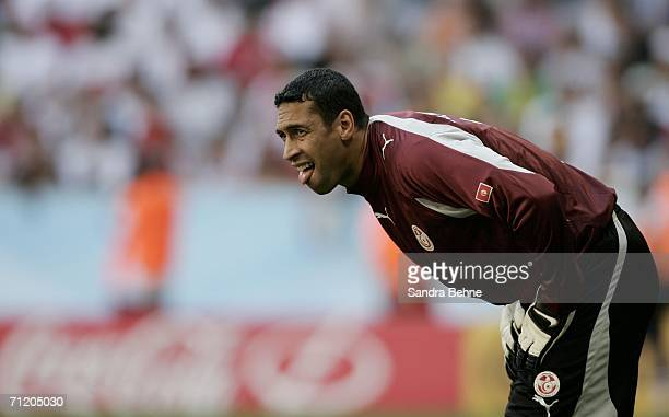 Goalkeeper Ali Boumnijel of Tunisia watches play during the FIFA World Cup Germany 2006 Group H match between Tunisia and Saudi Arabia at the Stadium...