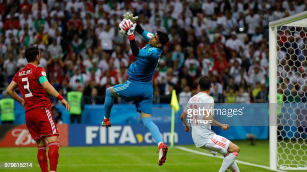 Goalkeeper Alireza Beiranvand of Iran controls the ball during the 2018 FIFA World Cup Russia group B match between Iran and Spain at Kazan Arena on...