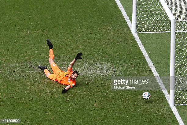Goalkeeper Alireza Haghighi of Iran dives in vain after Emir Spahic of Bosnia and Herzegovina shoots and scores his team's first goal during the 2014...