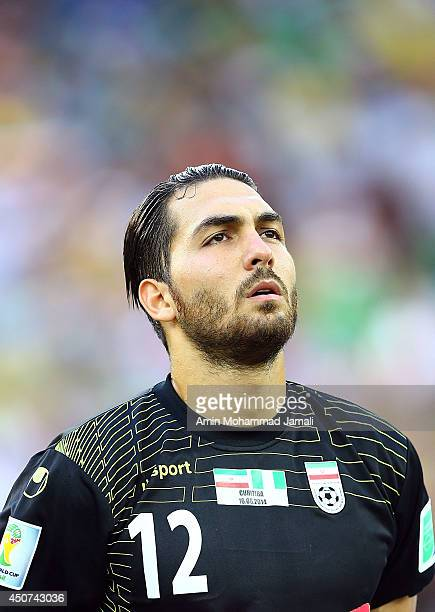 Goalkeeper Alireza Haghighi of Iran looks on during the 2014 FIFA World Cup Brazil Group F match between Iran and Nigeria at Arena da Baixada on June...
