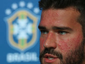 sochi russia goalkeeper alisson attends media