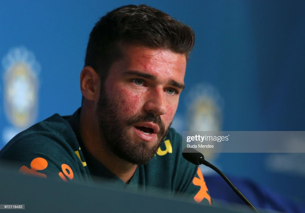 Goalkeeper Alisson attends the media during a Brazil press conference ahead of the FIFA World Cup 2018 in Russia at Yug-Sport Stadium on June 12, 2018 in Sochi, Russia.