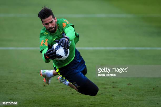 Goalkeeper Alisson Becker in action during a training session of the Brazilian national football team at the squad's Granja Comary training complex...