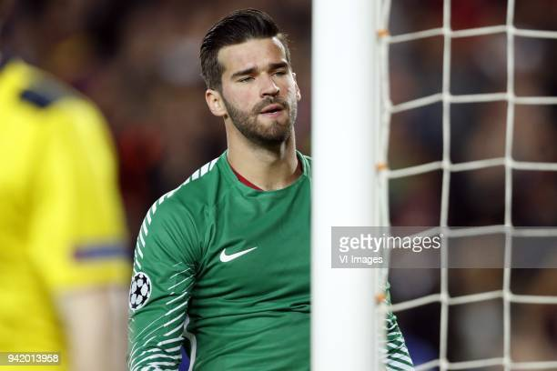 goalkeeper Alisson Becker of AS Roma during the UEFA Champions League quarter final match between FC Barcelona and AS Roma at the Camp Nou stadium on...