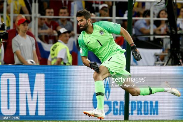 Goalkeeper Alisson Becker of Brazil is seen during the 2018 FIFA World Cup Russia Group E match between Serbia and Brazil at the Spartak Stadium in...