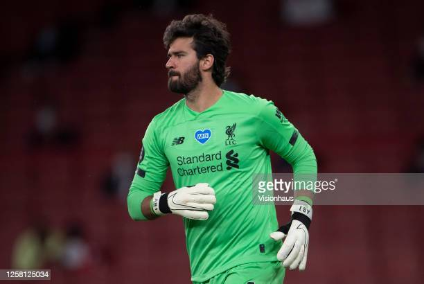 Goalkeeper Alisson Becker of Liverpool during the Premier League match between Arsenal FC and Liverpool FC at Emirates Stadium on July 15 2020 in...