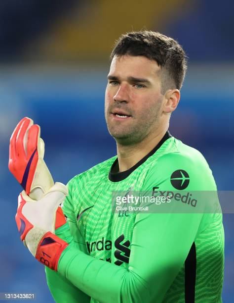 Goalkeeper Alisson Becker of Liverpool during the Premier League match between Leeds United and Liverpool at Elland Road on April 19, 2021 in Leeds,...