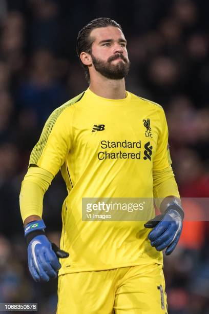 goalkeeper Alisson Becker of Liverpool FC during the UEFA Champions League group C match between Paris St Germain and Liverpool FC at the Parc des...