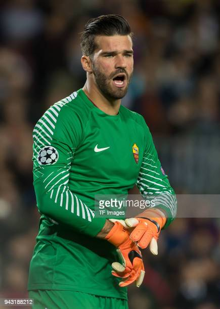 Goalkeeper Alisson Becker of Rom gestures during the UEFA Champions League QuarterFinal first leg match between FC Barcelona and AS Roma at Camp Nou...