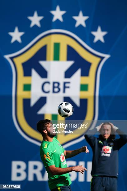 Goalkeeper Alisson in action during a Brazil training session at YugSport Stadium on June 24 2018 in Sochi Russia
