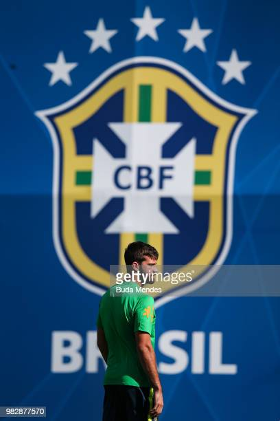 Goalkeeper Alisson looks on during a Brazil training session at YugSport Stadium on June 24 2018 in Sochi Russia