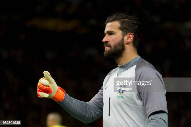 Goalkeeper Alisson of Brazil gestures during the international friendly match between Germany and Brazil at Olympiastadion on March 27 2018 in Berlin...