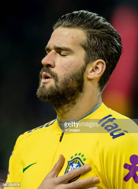 Goalkeeper Alisson of Brazil gestures prior to the international friendly match between Germany and Brazil at Olympiastadion on March 27 2018 in...