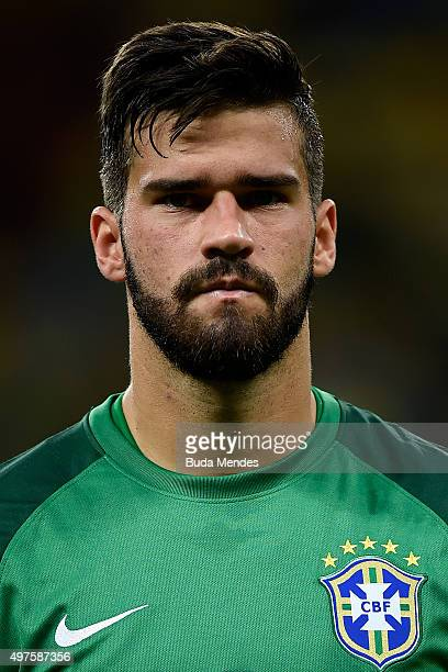 Goalkeeper Alisson of Brazil looks on before a match between Brazil and Peru as part of 2018 FIFA World Cup Russia Qualifiers at Arena Fonte Nova on...