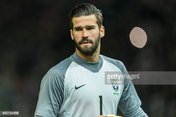 Goalkeeper Alisson of Brazil looks on during the international friendly match between Germany and Brazil at Olympiastadion on March 27 2018 in Berlin...