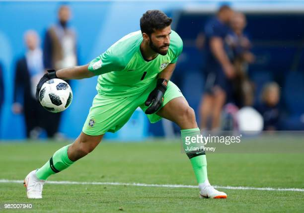 PETERSBURG RUSSIA JUNE Goalkeeper Alisson of Brazil releases the ball during the 2018 FIFA World Cup Russia group E match between Brazil and Costa...