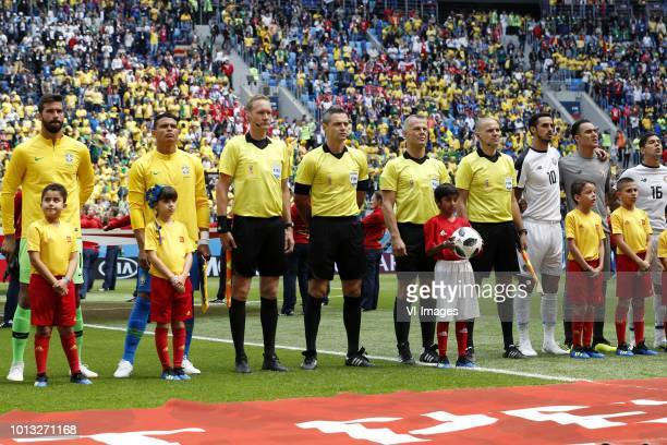 goalkeeper Alisson of Brazil Thiago Silva of Brazil assistant referee Erwin Zeinstra Fourth official Damir Skomina referee Bjorn Kuipers assistant...