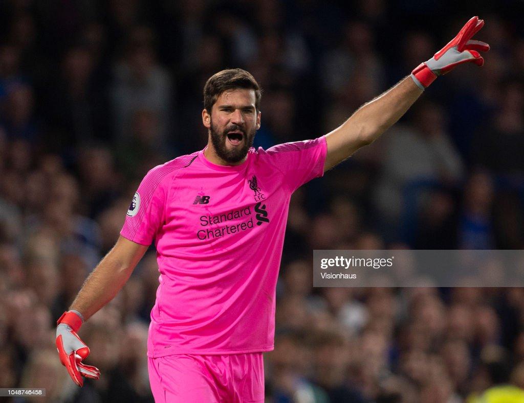 6e41badd2b9 Goalkeeper Alisson Ramses Becker of Liverpool during the Premier ...