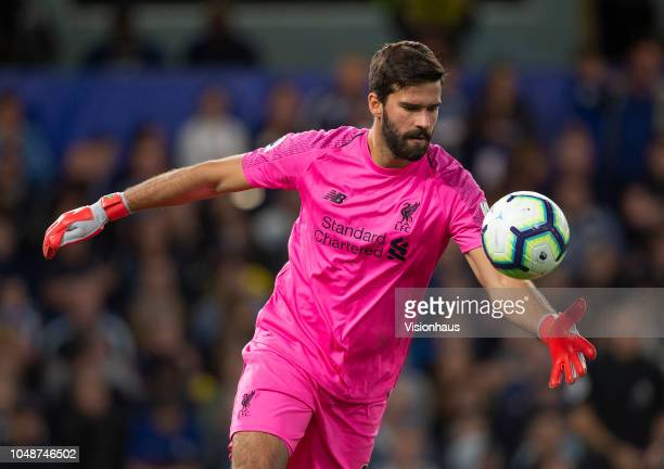 Goalkeeper Alisson Ramses Becker of Liverpool during the Premier League match between Chelsea FC and Liverpool FC at Stamford Bridge on September 29...