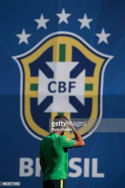 Goalkeeper Alisson reacts during a Brazil training session at YugSport Stadium on June 24 2018 in Sochi Russia