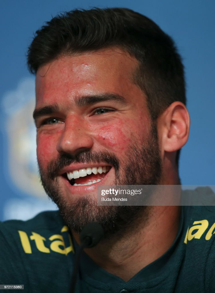 Goalkeeper Alisson smiles during a Brazil press conference ahead of the FIFA World Cup 2018 in Russia at Yug-Sport Stadium on June 12, 2018 in Sochi, Russia.