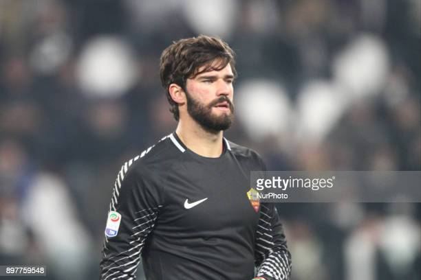 Goalkeeper Allison of AS Roma during the Serie A football match n18 JUVENTUS ROMA on at the Allianz Stadium in Turin Italy