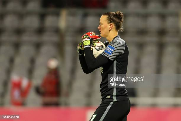 Goalkeeper Almuth Schult of Wolfsburg looks on during the Women's DFB Cup Quarter Final match between FC Bayern Muenchen and VfL Wolfsburg at the...