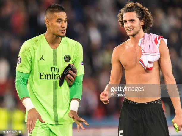 goalkeeper Alphonse Areola of Paris SaintGermain Adrien Rabiot of Paris SaintGermain during the UEFA Champions League group C match between Paris St...