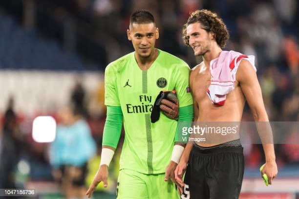 goalkeeper Alphonse Areola of Paris SaintGermain Adrien Rabiot of Paris SaintGermain during the UEFA Champions League group C match between Paris St...