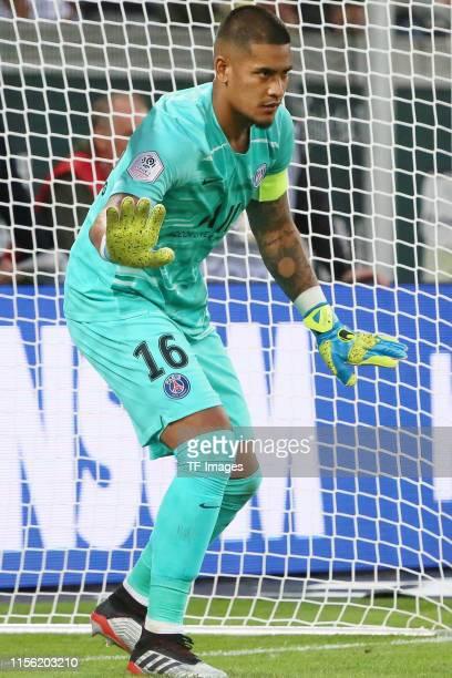 goalkeeper Alphonse Areola of Paris SaintGermain controls the ball during the preseason friendly match between Dynamo Dresden and Paris SaintGerman...