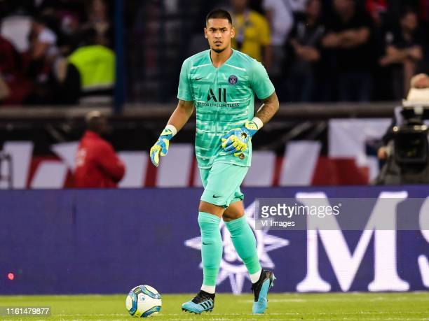 goalkeeper Alphonse Areola of Paris SaintGermain during the Ligue 1 match between Paris SaintGermain and Nimes Olympique at Parc des Princes on...
