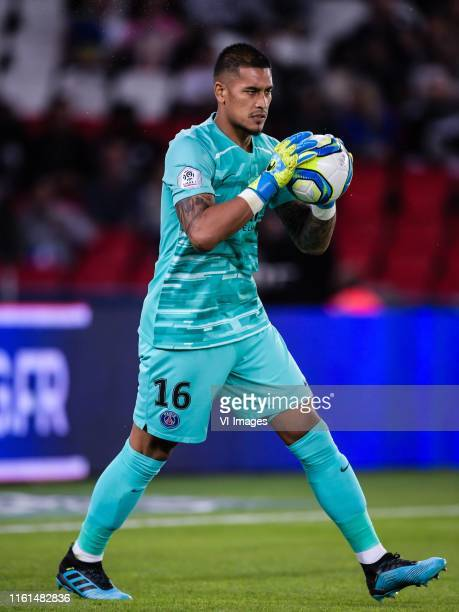 goalkeeper Alphonse Areola of Paris SaintGermain during the Ligue 1 match between Paris SaintGermain and Nimes Olympique at Parc des Princes on...