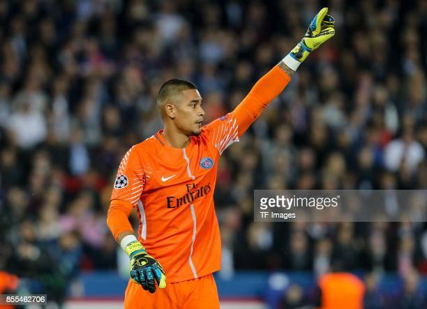 Goalkeeper Alphonse Areola of Paris SaintGermain gestures during the UEFA Champions League group B match between Paris SaintGermain of Paris...