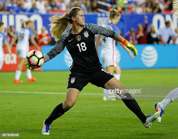 Goalkeeper Alyssa Naeher clears the ball during the match between the United States and the Netherlands at Georgia Dome on September 18 2016 in...