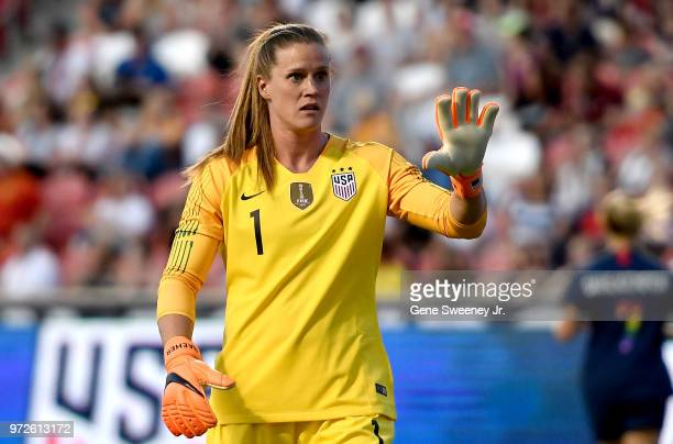 Goalkeeper Alyssa Naeher of the United States directs a play in an international friendly soccer match against China at Rio Tinto Stadium on June 7...