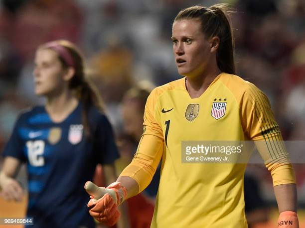 Goalkeeper Alyssa Naeher of the United States gives the thumbs up in the second half of an international friendly soccer match against China at Rio...