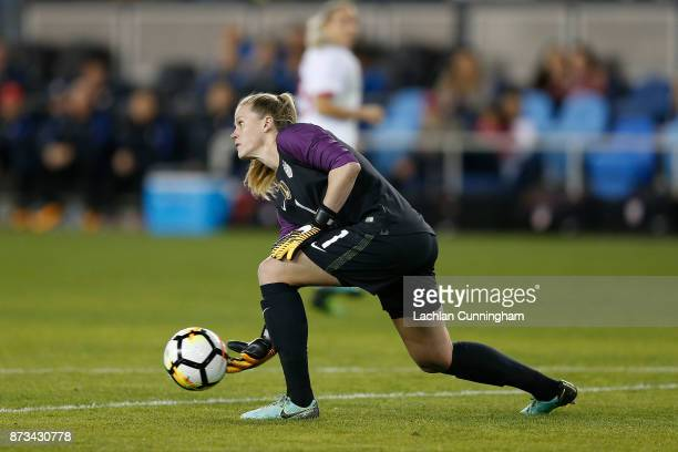 Goalkeeper Alyssa Naeher of the United States throws the ball back in during a friendly match against Canada at Avaya Stadium on November 12 2017 in...