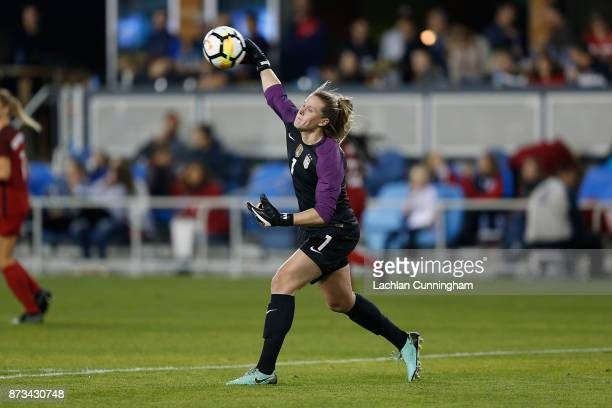 Goalkeeper Alyssa Naeher of the United States throws the ball back into play against Canada during a friendly match at Avaya Stadium on November 12...