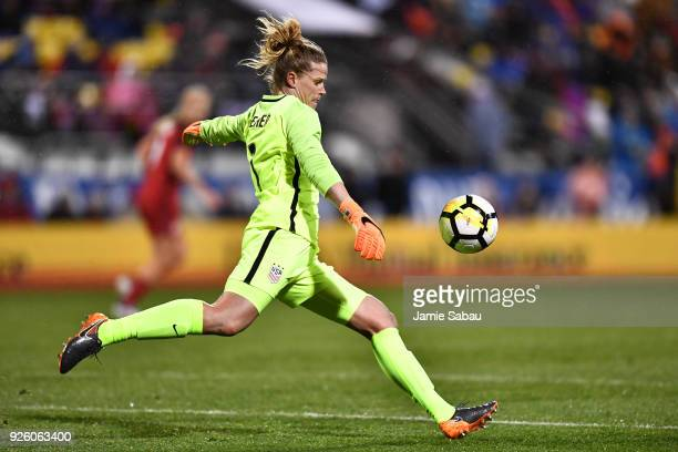 Goalkeeper Alyssa Naeher of the US National Team punts the ball in the first half against Germany on March 1 2018 at MAPFRE Stadium in Columbus Ohio