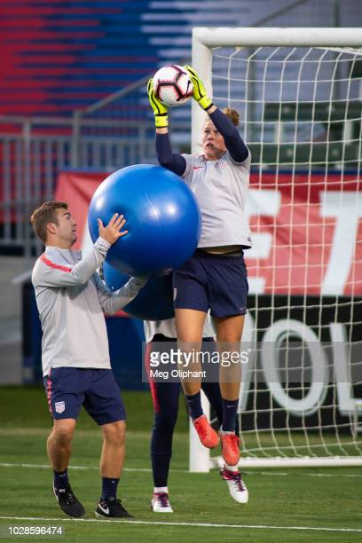 Goalkeeper Alyssa Naeher of the US Women's National Team does drills at practice before their game against Chile at StubHub Center on August 30 2018...